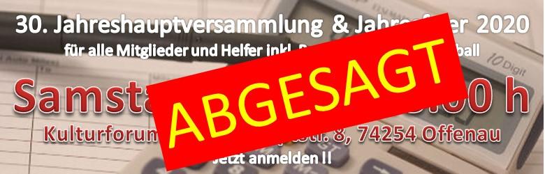 Hauptversammlung und Helferfest 2020 – ABGESAGT