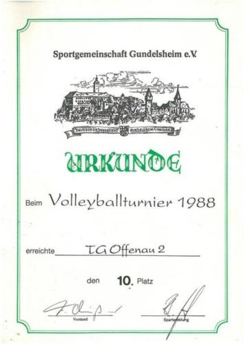 1988 Volleyballturnier Gundelsheim TGO2