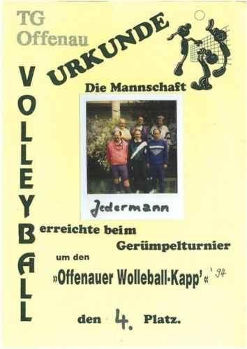 Urkunden Wolleball-Kapp
